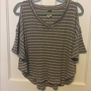 Free People Striped Cold-Shoulder Tee